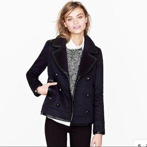 J. Crew Collection leather trim pea coat